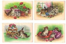 Kittens at play flowers lot of 6 artist signed Jub French France Cat postcards