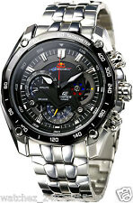 CASIO EDIFICE CHRONOGRAPH EF-550RB-1A BLACK DIAL STAINLESS  STEEL CASE BRACELET
