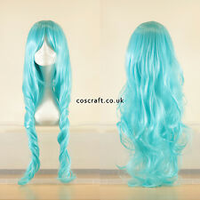 80cm long wavy curly cosplay wig in light sky blue, UK seller, Jeri style