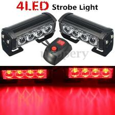 2x 12V 4 LED Bar Red Car Truck Flashing Emergency Grille Light Recovery Strobe