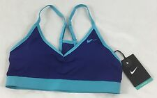 Nike Pro Women's Light Support Sports Training Bra Blue Turquoise 620273 Size M