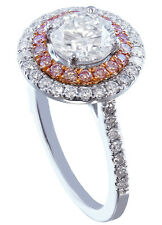14k White Gold Round Cut Diamond Engagement Ring Pink Diamond Double Halo 1.80ct