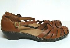 NEW CLARKS Bendable Wendy Land TAN LEATHER SHOES Women's 11 SANDALS #60553 $129