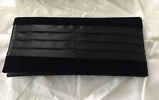 Brand New Yves Saint Laurent Black Velvet & Satin Monogrammed Clutch Purse