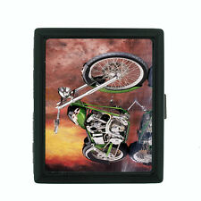 Motorcycle D6 Regular Black Cigarette Case / Metal Wallet Bike Racing Crusing
