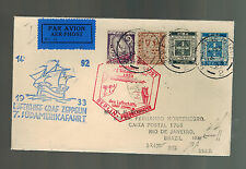 1933 Ireland Graf Zeppelin Airmail Cover Brazil South America 7th Flight