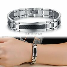 Silver Stainless Steel Black Carbon Fiber ID Link Bracelet Wristband for Men