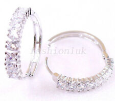 fashion1uk Women's White Gold Plated Simulated Diamond Huggie Hoop Earrings
