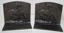 Antique 1920s BronzMet Native American Horse Spear Cast Iron Bookends End Trail
