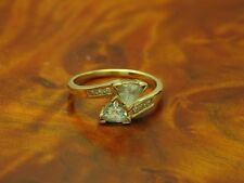 9kt 375 GOLD RING MIT 0,12ct BRILLANT & 1,2ct BERGKRISTALL BESATZ / 2,4g / RG 55