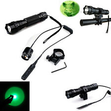Tactical Green Light LED Hunting Flashlight W/ 20mm Picatinny Rail Scope Mount