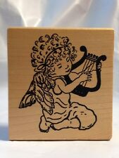 Me & Carrie Lou Curly Hair with bow Angel cherub Playing Harp Rubber Stamp 2000