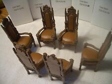 DOLLHOUSE 6 MAGNIFICENT ORNATE MED DARK DINING CHAIRS #DD-03W HEBREW LETTER M/B!