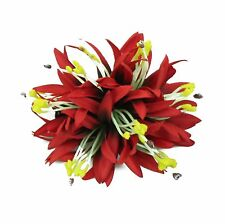 Hawaii Hair Clip Lei Luau Competition Flower Dance Large Spider Lily Red Solid