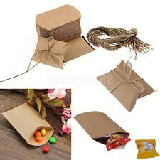 Wholesale 50 Pillow Sweets Candy Boxes Wedding Party Favor Kraft Brown Paper