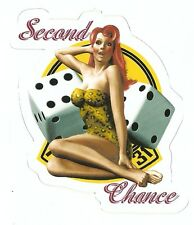 SECOND CHANCE NOSE ART PIN UP GIRL WORLD WAR 2    Sticker Decal