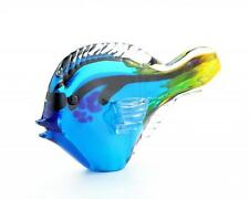 "New 10"" Hand Blown Art Glass Tang Dory Fish Figurine Statue Blue Yellow Clear"