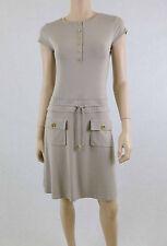 NWT CHELSEA & THEODORE Ponte Summer Dress Cap Sleeve Drawstring Waist Gray 4