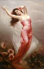 Oil painting charming young girl dancing wearing red dress with flowers canvas