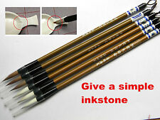 6 Pc  Weasel Hair Chinese Japanese Calligraphy Brown Brush Pen With a Inkstone