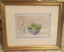 Antique Stillife Watercolor Painting Apples Pink Carnation Chinese Canton Bowl