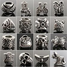 40pcs Lots Wholesale Tibetan Silver Charm Beads Fit European Chain Bracelet