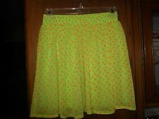 Women's Nieman Marcus Exclusive SILK neon green skater  Skirt Sz SMALL