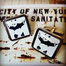 Unique! BANKSY CUFFLINKS chrome GANGSTER PANDA WITH GUNS graffiti STENCIL ART
