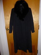 Vtg 80s FOX Soft HUGE Fur COLLAR Stroller WOOL Black COAT Cape JACKET S M L
