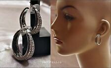 "MINI SILVER PAVE CRYSTAL CHUNKY METAL HOOP 1"" HUGGIE EARRINGS NEW"
