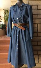 Vintage Denim Dress Hippie Boho Western A Line Button Up Melissa 14 Med