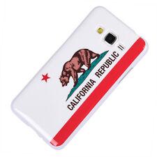 for Samsung Galaxy Grand Prime G530 Hard Rubber Gummy Case California Flag Bear