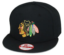 New Era Chicago Blackhawks Snapback Hat All Black/Chief/Grey Bottom 9fifty nhl
