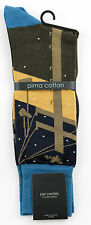 Men's PER PEDES Hot Summer Nights Brown Blue Mercerized Cotton Socks NWT $32