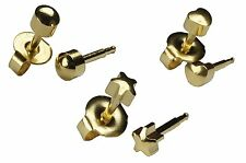 Ear Piercing Earrings 3 Pairs Of 4mm Gold Shapes Studex Studs Hypoallergenic