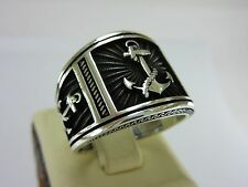 Turkish Handmade Ottoman Style 925 Sterling Silver Anchor Men's Ring Size 10.25