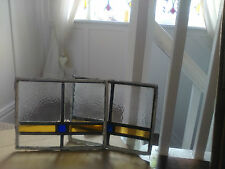 4  Vintage Stained Glass 1930s 27 x 22cm  amber and blue