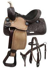 """10"""" Double T pony saddle set with blue crystal rhinestones."""