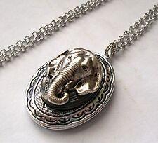 Antiqued Silver - ELEPHANT HEAD - Double 2 VTG LOCKET Pendant Necklace -Pill Box