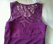 Lipsy Borgogna in Pizzo Top Dress Size 16 Nuovo con etichette