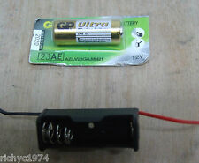 1x 12V A23 BATTERY AND BATTERY CELL HOLDER WITH WIRES OO GAUGE LED LIGHTS