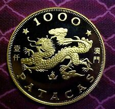 MACAO 1988 MACAU 1000 PATACA YEAR OF THE DRAGON GOLD COIN KM#39 PROOF IN CAPSULE