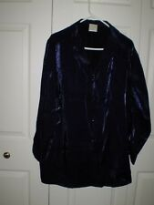 Style Studio - Size 1X, Button Down Shirt, Long Sleeve,Royal Blue, Rayon, Solid