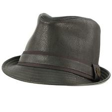 Men's Winter Fall Faux Fake Leather Fedora Trilby Derby Crushable Hat Gray L/XL
