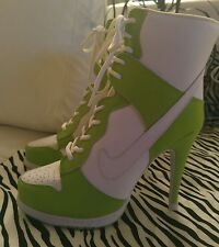 NWB NIKE WOMEN'S HI-TOP SPIKE HEEL SHOES LIME/WHITE SIZE 9.5