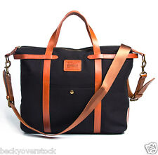 Large Vintage Retro Men's Genuine Leather canvas Duffel weekend bag luggage