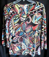"CHICOS 2 - UNUSUAL MODERN ABSTRACT ART PATTERN ""V"" NECK PULLOVER KNIT TOP"