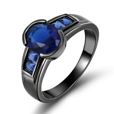 Delicate Jewelry Size 10 Blue Topaz Black Gold Filled Anniversary Rings For Men