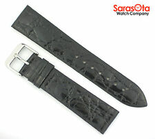 deBeer Genuine Crocodile Black 20mm/16mm Buckle Watch Band