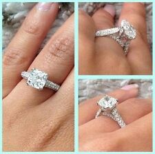 3.00ct Hand Crafted Cushion Cut Micro Pave Natural Diamond Engagement Ring GIA